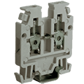Order high-density terminal blocks from ASI. For the best use of rail space, use 5 or 6 feed-through mini terminal blocks per inch of rail space.