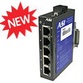Industrial Ethernet Switches DIN Rail Mount at WWW.ASI-EZ.COM are super compact, unmanaged, 5 and 8 port, PoE, Waterproof, IP67.